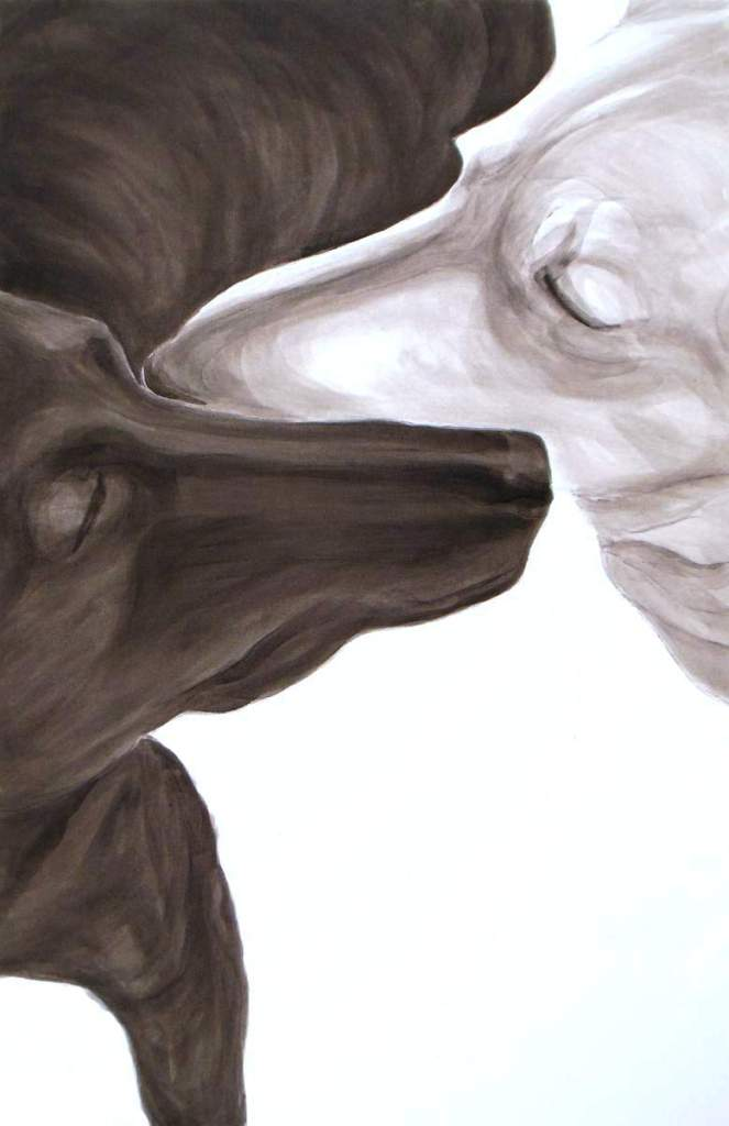 Brother, Dog Studies, high contrast black acrylic painting of two dogs muzzle to muzzle, Elizabeth Lisa Petrulis