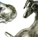 Curves, Dog Studies, high contrast black acrylic painting, Elizabeth Lisa Petrulis