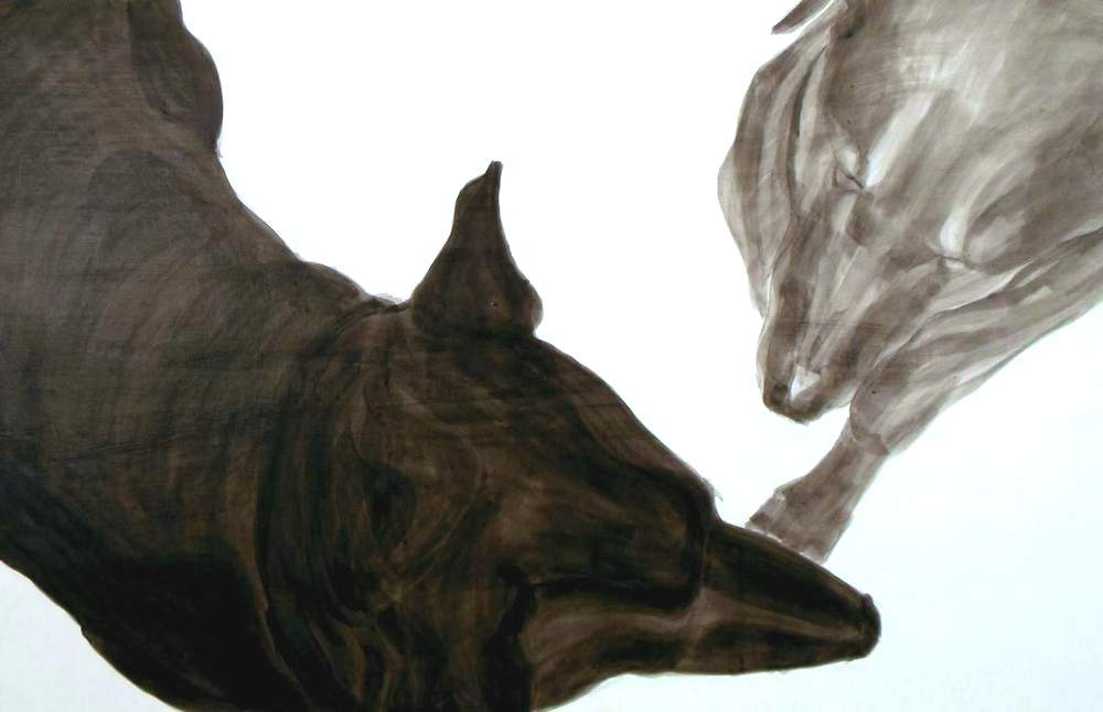 Dance, Dog Studies, high contrast acrylic painting of two dogs by Elizabeth Lisa Petrulis