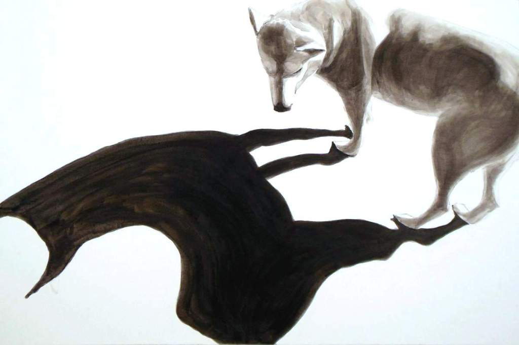 Dog/Alpaca, dog studies, high contrast black acrylic pai;ting of dog and its shadow by Elizabeth Lisa Petrulis