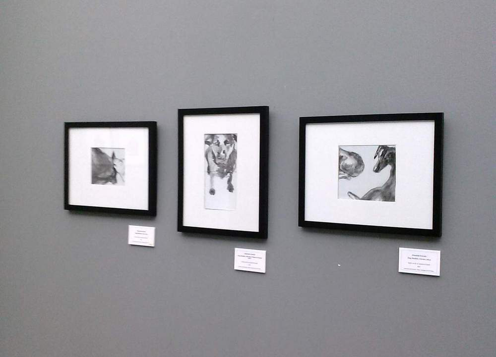 three Dog Studies framed paintings on small board installed at Rose-Hulman Institute of Technology, Elizabeth Lisa Petrulis Spring 2014.
