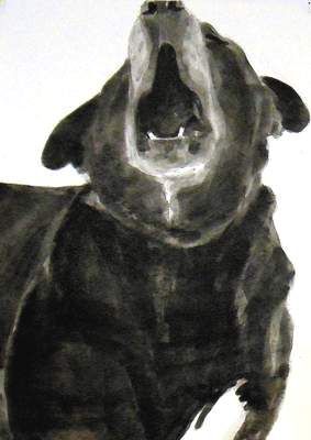 Doug speaks 2, Dog Studies, high contrast black and white acrylic painting featuring open dog mouth by Elizabeth Lisa Petrulis