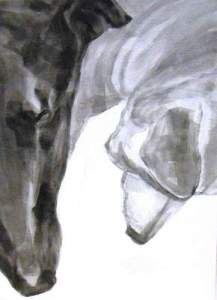 ears n noses, Dog Studies,m high contrast black acrylic painting, Elizabeth Lisa Petrulis
