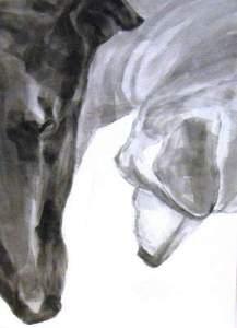 ears n noses, Dog Studies,m high contrast black acrylic painting, Elizabeth Lisa Petrulis