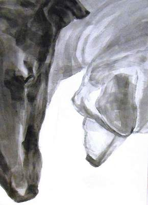 ears n noses, Dog Studies, high contrast black acrylic painting, Elizabeth Lisa Petrulis
