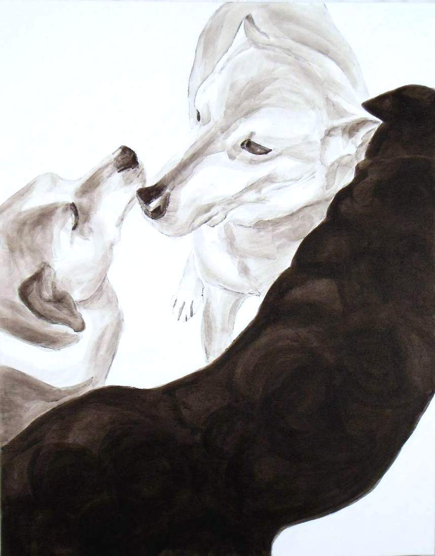 Round Up, Dog Studies, high contrast black acrylic painting, Elizabeth Lisa Petrulis