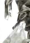 Sadie licking Doug, Dog Studies, high contrast black acrylic painting, Elizabeth Lisa Petrulis