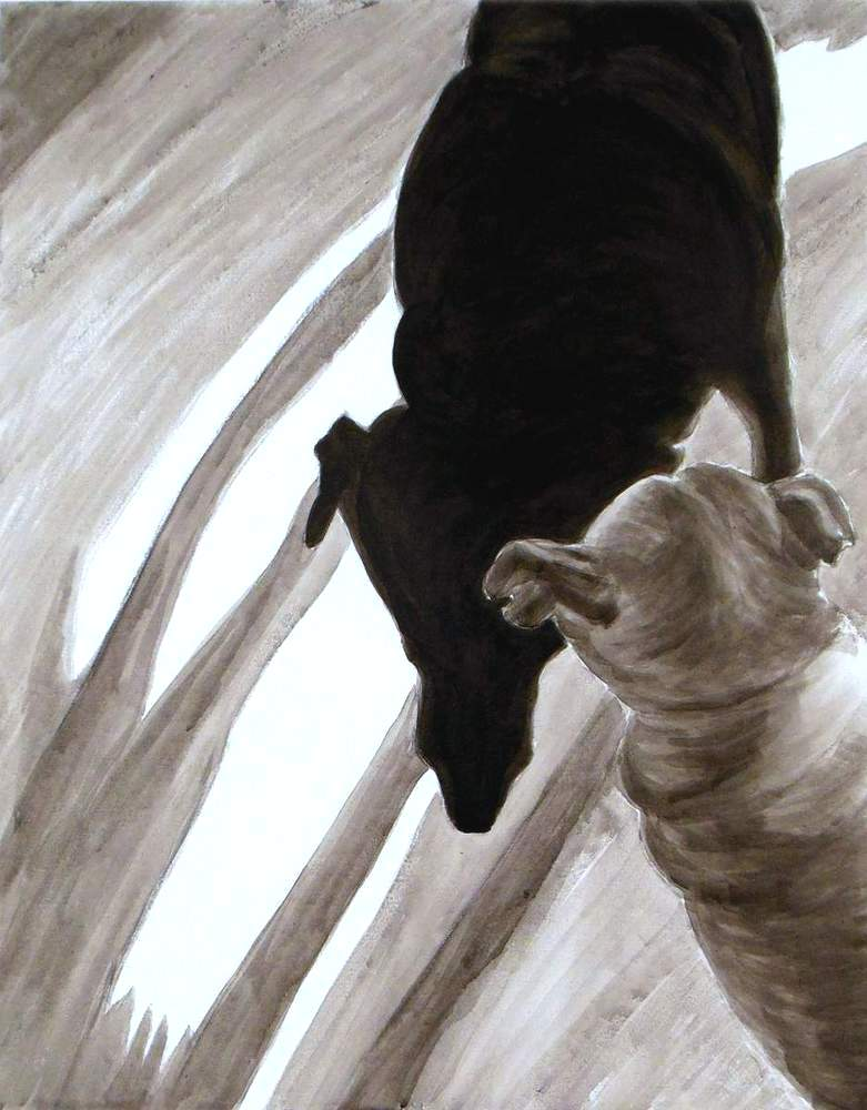 Shadow legs,dog studies, high contrast black and white acrylic painting, Elizabeth Lisa Petrulis