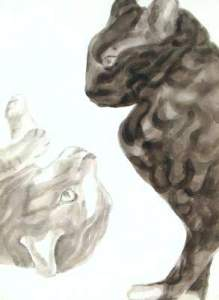 strife, dog studies, high contrast black and white acrylic cat painting on paper, elizabeth lisa petrulis