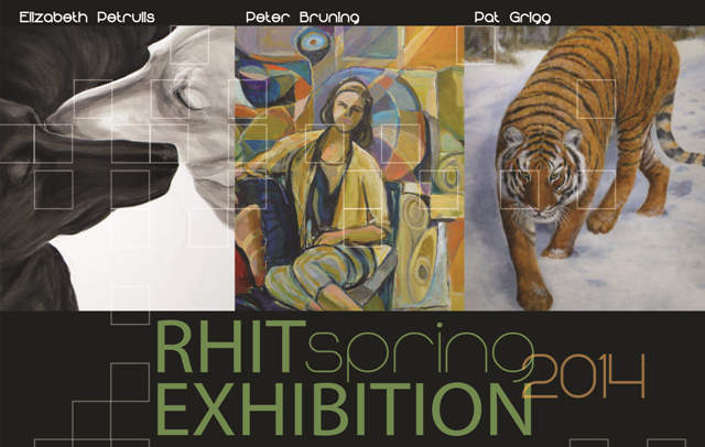 "Rose-Hulman postcard invitation with ""Brothers"" from Dog Studies, by Elizabeth Lisa Petrulis, and work by two other artists."