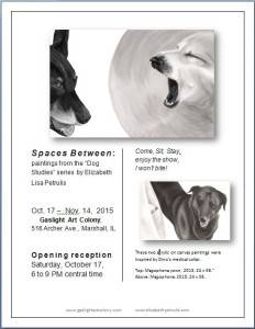 Exhibition of high contrast pet paintings by Elizabeth Lisa Petrulis