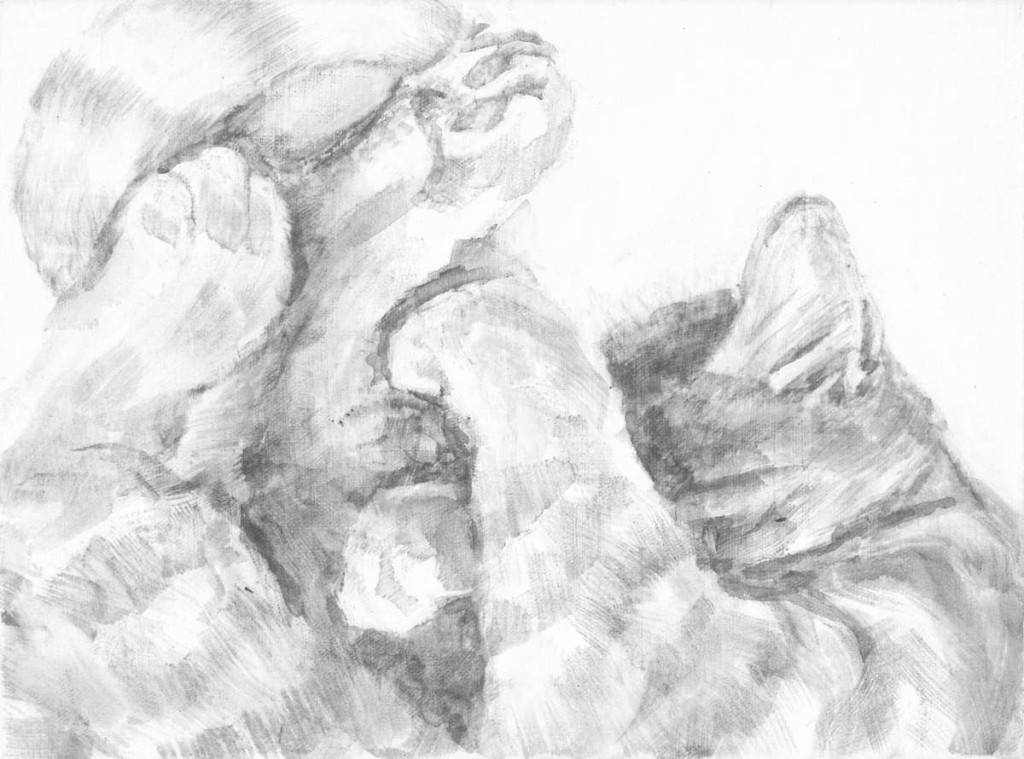 Intimate portrait of sleeping cat focusing on the soft tangle of legs, tail and ear. Black and white acrylic painting by Elizabeth Lisa Petrulis.