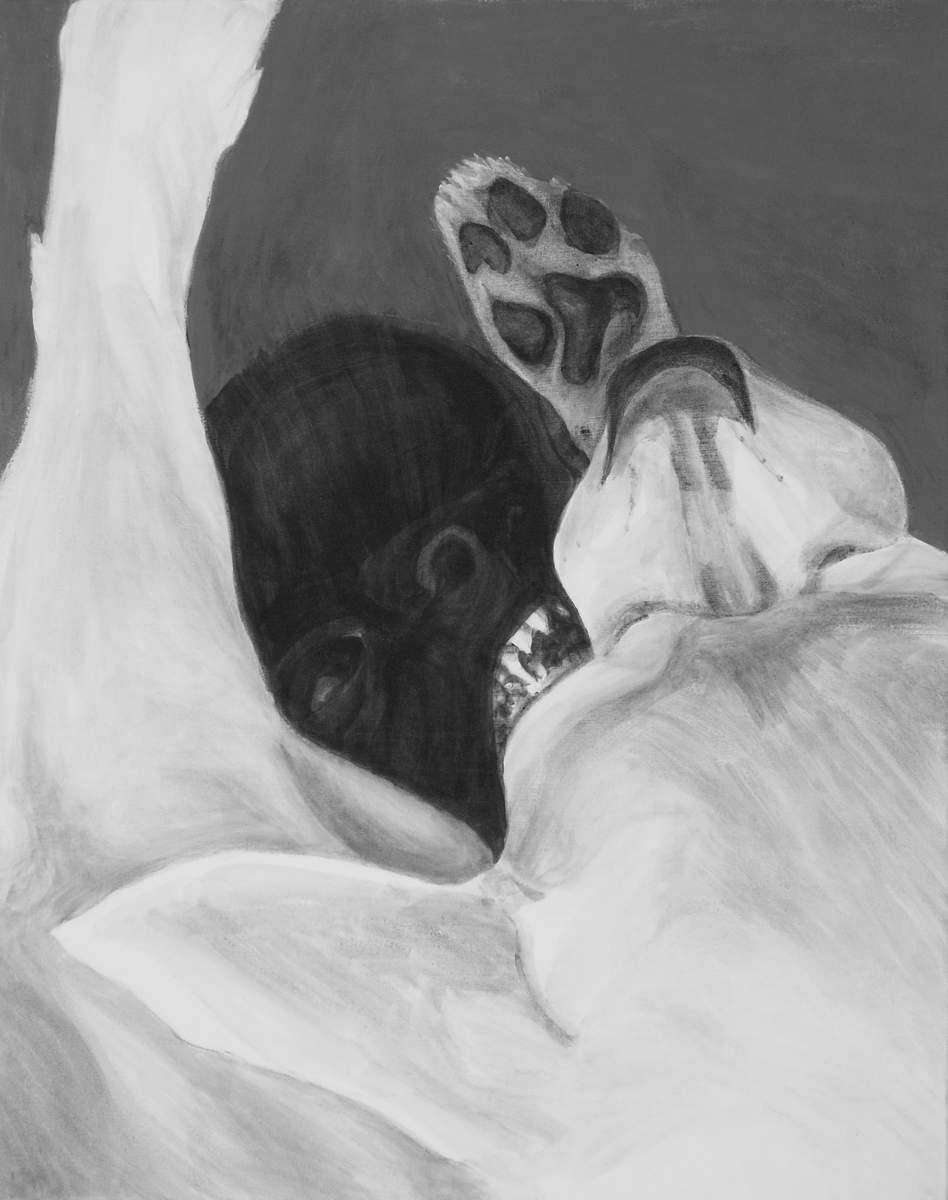 Intimate view from above of two Chihuahua dogs fight/playing. A contrast of white and black, back and front. The dog pinned to the ground shows his teeth. a high contrast black and white acrylic painting by Elizabeth Lisa Petrulis.