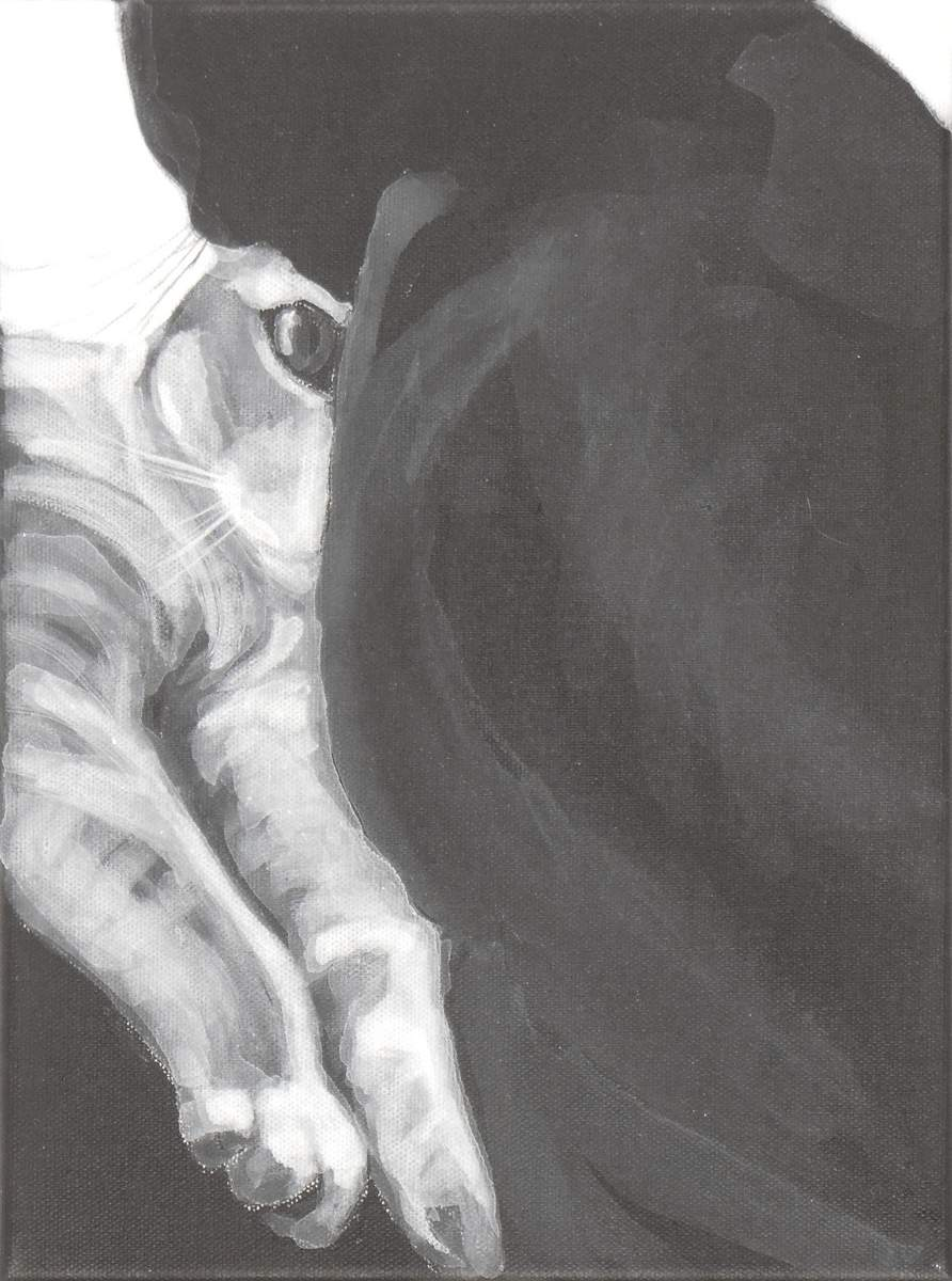 Two cats face off, black and white acrylic painting by Elizabeth Petrulis