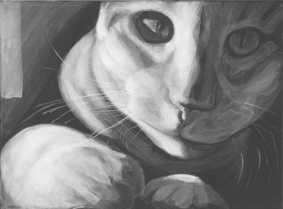close up cat portrait, high contrast black and white painting by Elizabeth Petrulis