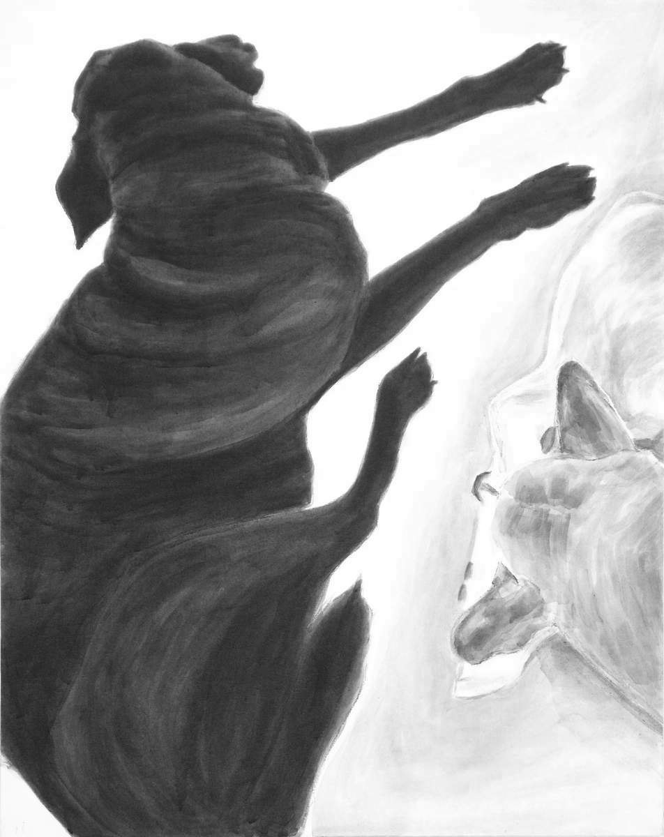 Intimate portrait of two dogs resting together, one faces toward the other as the other looks away. high contrast black and white acrylic painting by Elizabeth Lisa petrulis