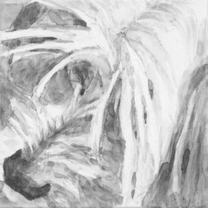 dog portrait, close up view of fringe bangs over eyes and nose. Chinese Crested head. black and white acrylic painting by Elizabeth Lisa Petrulis