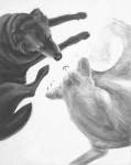 high contrast black and white acrylic painting of a light and a dark dog facing each other by Elizabeth Petrulis