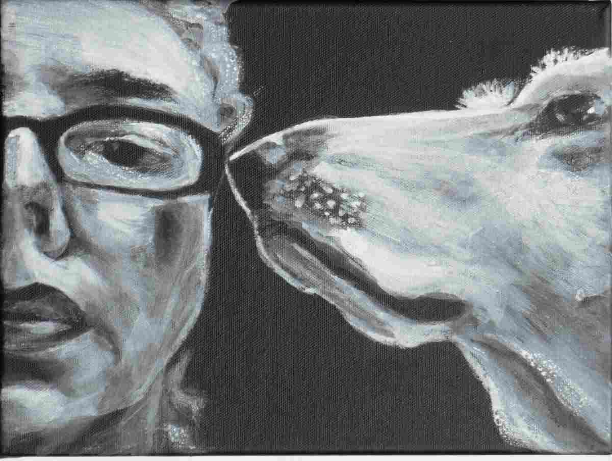up close portrait of woman who faces forward and dog seen in profile with nose at woman's eyeglass