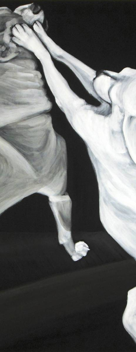 detail of chihuahua body edges, and black ground, in the acrylic painting Chihuahua Legs