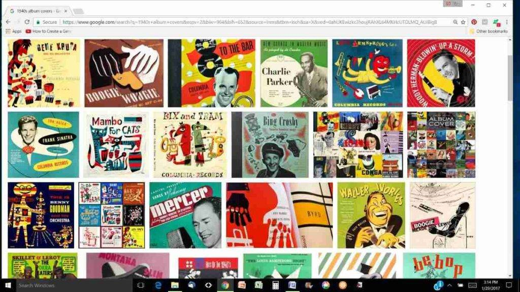 colorful screen shot of a Google search for 1940s album cover pictures