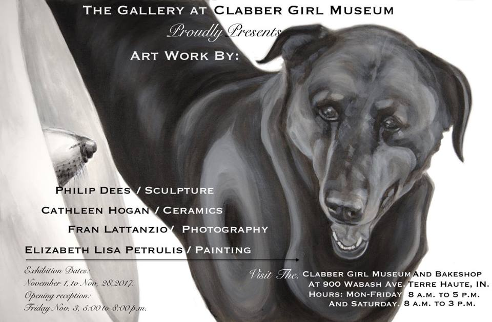"post card for 4 artist show 2017 at the Gallery at Clabber Girl Museum featuring the image of the painting ""Megaphone, from the Medical Collar Series, by Elizabeth Petrulis"
