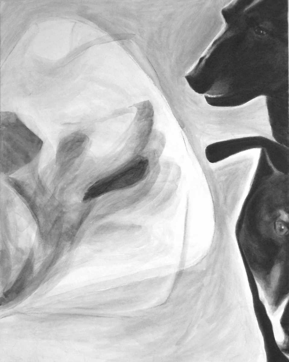 "successive images showing changes to the black and white acrylic painting ""Ghost"" from 2015 to 2017 by Elizabeth Lisa Petrulis"