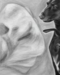 Black and white acrylic painting of three dogs, one seen through a translucent medical collar. A close up of 3 faces two in profile one straight forward.