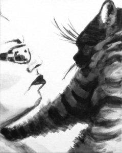 intimate high contrast double portrait of a woman's face (white with dark outlines) and a cat face and arm (black and gray stripes)