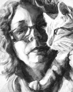 high contrast intimate portrait of woman and cat in black and white, woman looking forward, cat in profle