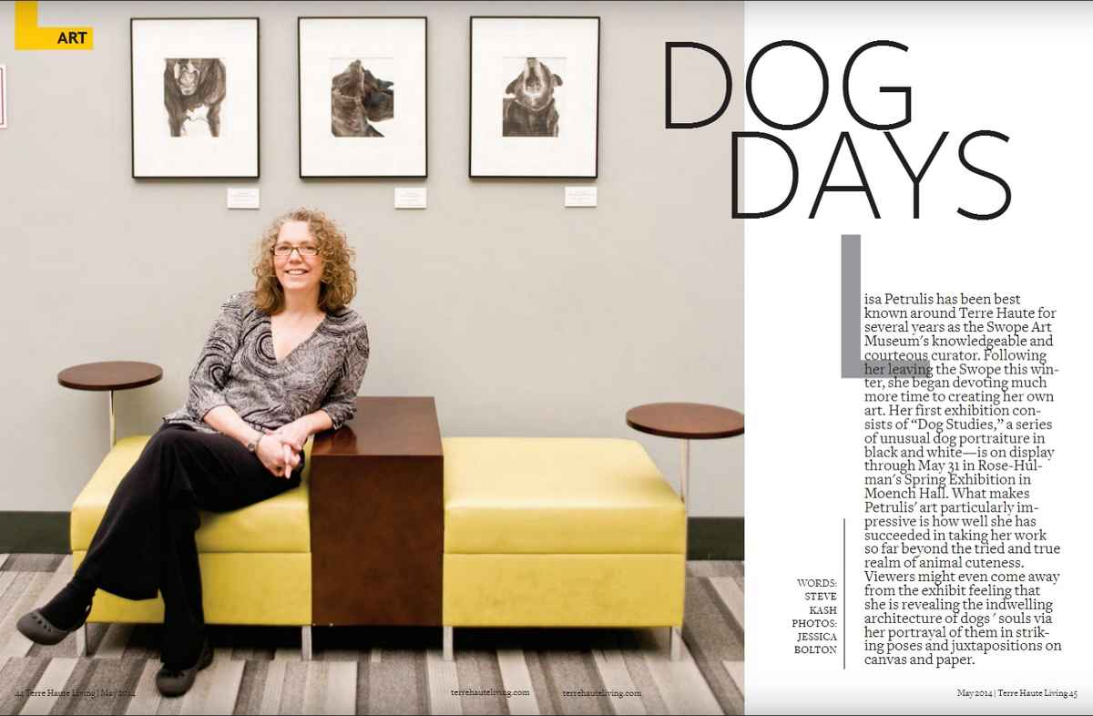 "Pages 44 and 45 from Terre Haute Living Magazine, May 2014. Showing text ""Dog Days"" by Steve Kash, and images, by Jessica Bolton, of Elizabeth Petrulis and her paintings on the walls of Rose-Hulman Institute of Technology."