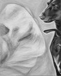 A dog in a translucent medical collar looks ghostly. His two companions in dark profile, counterbalance the composition in this black and white acrylic painting by Elizabeth (Lisa) Petrulis.