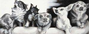 Black and white horizontal painting of six chihuahua dogs by Elizabeth Lisa Petrulis
