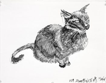 Paint pen drawing of a seated black cat in black white and grey. The cat is seated a three quarter view from the side with the tail curled on the left. Artist Elizabeth Lisa Petrulis.