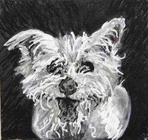 Butterscotch, a fluffy white dog, is drawn with felt tip paint pens. Looking forward with mouth open tongue out and fur going every which way. Artist Elizabeth Lisa Petrulis.