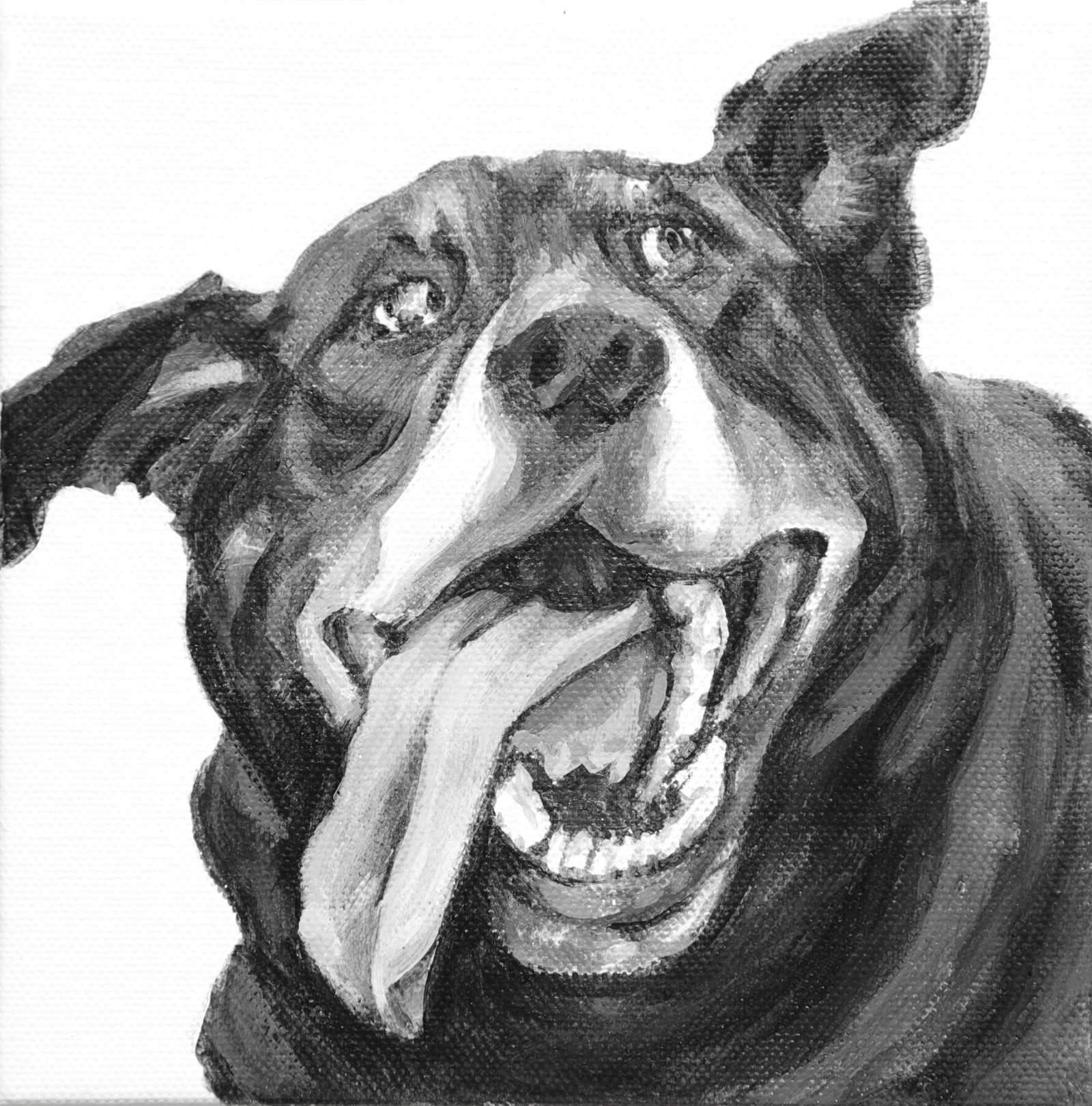 Doug, tongue down, ear up, twists to look in this goofy portrait of a Black Lab/Great Pyrenees mix. Painted by Elizabeth Lisa Petrulis.