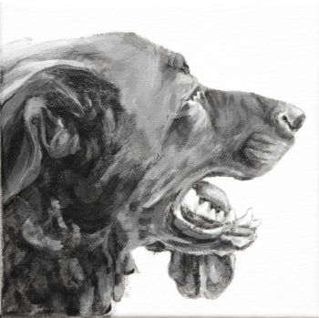 Mookie's long tongue hangs to the opposite side of this profile portrait of a Retriever type mutt. Painted in black and white by Elizabeth Lisa Petrulis.
