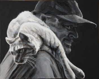 Dual portrait of a man with a cat laying across his shoulders. He smiles, her legs dangle in front as she looks backwards. With a black background and the mans face in shadow, the pale cat stands out.