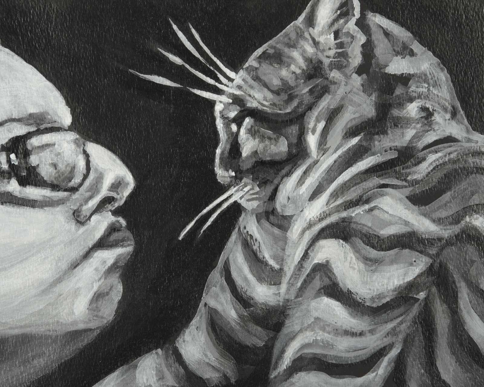 Intimate self portrait close up of annoyed cat and human, black and white acrylic on black ground.