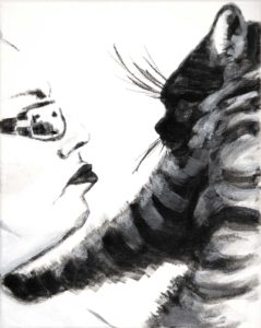 double profile portrait in stark black and white featuring a woman in glasses facing a cat who's paw touches her shoulder