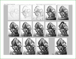 set of images showing the progression of the E3 painting from drawing to final painting