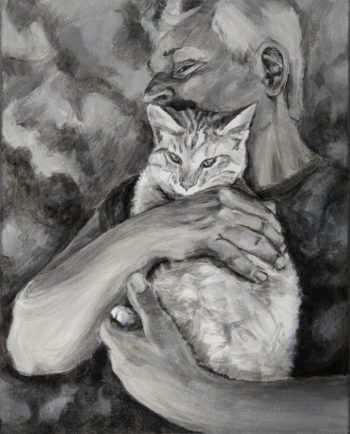 Dual painted portrait in black and white. A pale striped cat in a mans arms against a cloud like background.