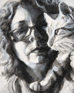 A dual painted portrait of the artist facing forward and her cat in profile. A high contrast black and white acrylic painting.