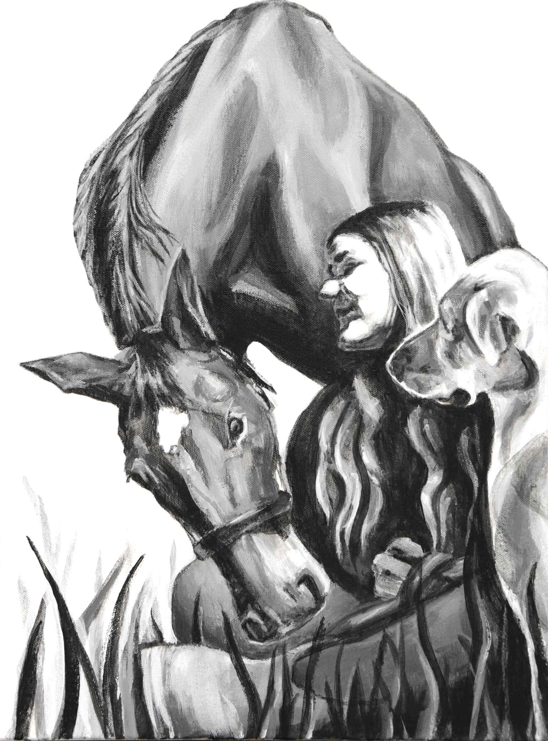 "A commissioned portrait, in black and white, of a woman, her horse and dog. The E3, (family portrait series,) 2018, acrylic on canvas, 16"" x 12"", Elizabeth Lisa Petrulis"