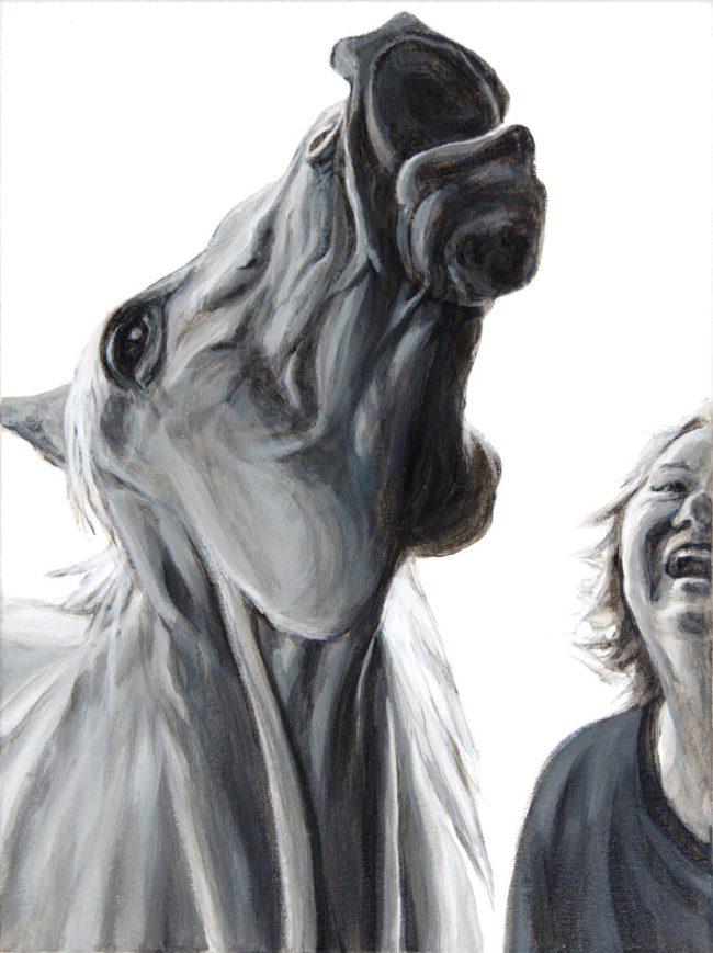 intimate portrait of horse and woman both seen from neck looking up. heads up in laughter