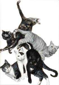 a black and white painting of five cats piled up with limbs and tails extended or curled