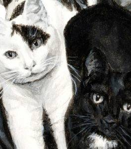 detail of cat painting featuring a white cat with a black patch over one eye and a black cat with a white patch on its chest