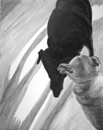 a black and white painting of two dogs viewed from above one in silhouette on a ground of cast shadows.
