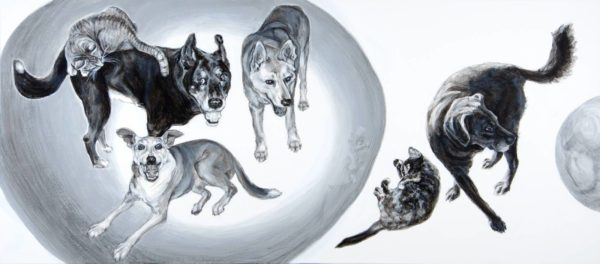 Absorbed family portrait of domestic animals arranged in orbs. A painting depicting 4 dogs and two cats within and outside a large circle with a smaller circle reflecting one of the dogs. A black and white acrylic painting by Elizabeth Lisa Petrulis