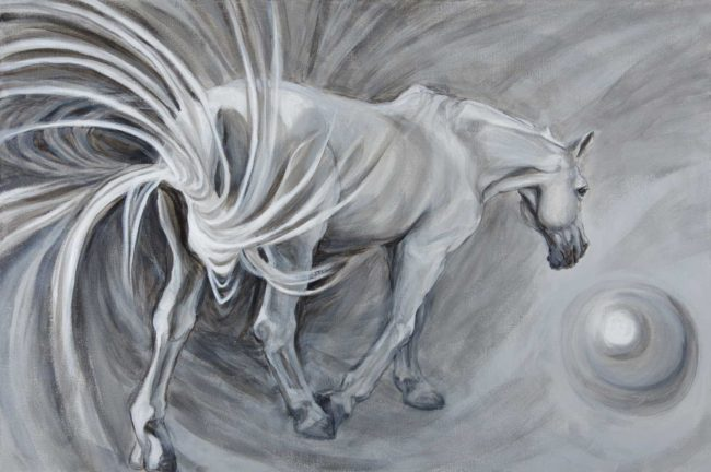 Horse portrait featuring an exaggerated swished tail as the horse walks away toward a mercurial ball. White horse on grey ground.